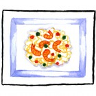 """""""Pasta with Prawns""""  Watercolor on Paper  5""""x4"""""""