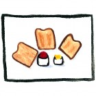 """""""Toast with Jam and Butter""""  Watercolor on Paper  3""""x3"""""""