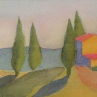 """""""Tuscan Landscape""""  Watercolor on Paper  12""""x6"""""""