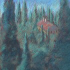 """""""Villa in the Cypress Forest""""  Pastel on Paper  9""""x9"""""""