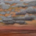 """""""Beach Clouds""""  Pastel on Paper  7.5""""x7.5"""""""