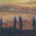 """""""Tuscan Cypresses at Sunset""""  Pastel on Paper  12""""x7"""""""