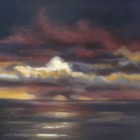 """""""Stormy Sunset""""  Pastel on Paper  13""""x13"""""""
