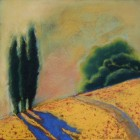 """""""Cypress Trees by the Path""""  Pastel on Paper  8.5""""x8.5"""""""